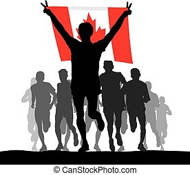 Winner of the flag of Canada - Illustration silhouettes of...