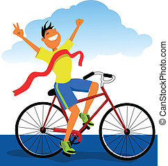 Winner on a bicycle - Man on a bike crossing a finish line...