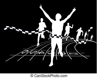 Winner - on a black background white silhouettes of people ...