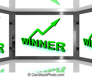 Winner On Screen Shows Victory