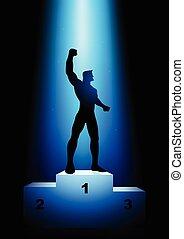 Winner on the rank podium - Silhouette illustration of a...