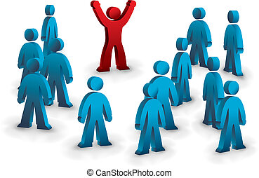 winner - one person standing out from the crowd
