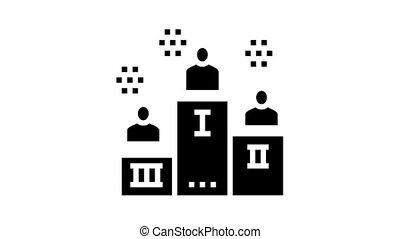 winner pedestal animated glyph icon. winner pedestal sign. isolated on white background
