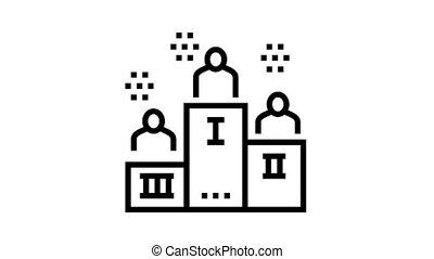 winner pedestal animated black icon. winner pedestal sign. isolated on white background