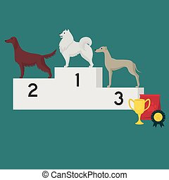 Winner pedestal. Puppy wining a dog show, pet on the first place. Gold trophy Cup on prize podium. Award ceremony animal, doggy champion medal, competition platform.