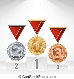 Pedestal With Gold, Silver, Bronze Medals Vector. White...