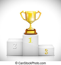 Winner Pedestal With Gold Trophy Cup. Vector Illustration.