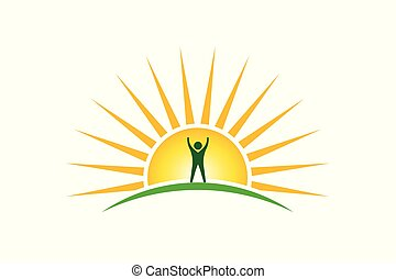 Winner People in sunshine morning logo. Hope and strength concept