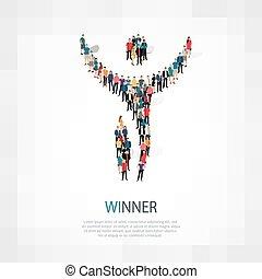winner people sign 3d