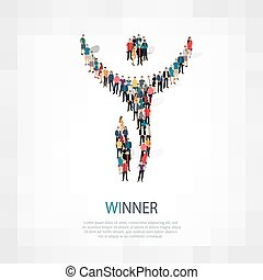 winner people sign 3d
