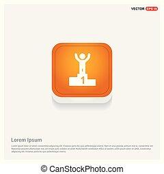 Winner Podium Icon Orange Abstract Web Button