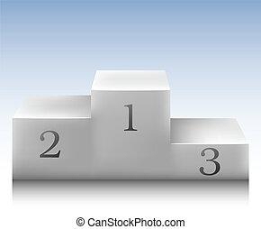 Winner podium - White winner podium for three places