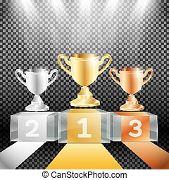 Winner Podium with Spotlights and Cup on Transparent Background.