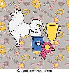 Winner Puppy wining a dog show, pet on the first place. Gold trophy Cup on prize podium. Award ceremony animal, doggy champion medal.