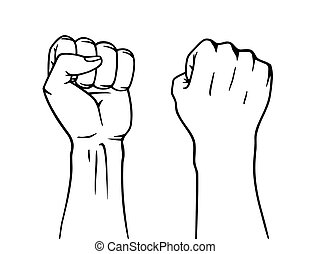 Winner raised fist. Logo label design, concept of win. Vector illustration in coloring style.