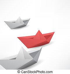 winner red paper ship
