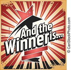 Winner. Retro tin sign design concept