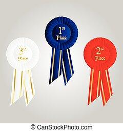 Winner Rosette Set with Ribbons. Cockade decoration element.