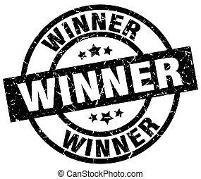 winner round grunge black stamp