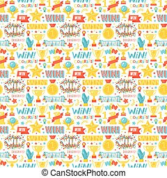 Winner seamless pattern with gold cup vector.