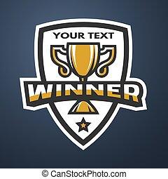 Winner Sports trophy, emblem, badge.