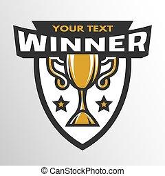 Winner. Sports trophy, emblem, badge.