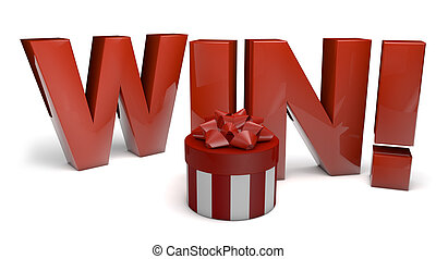 winner - render of the text win and a gift
