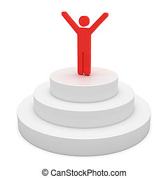 Winner on a podium. 3d objects isolated on the white...