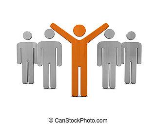 winner - 3d illustration of men symbols, competition with...