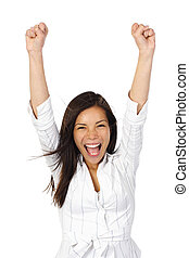 Beautiful happy young woman with her arms in the air. Isolated on white.