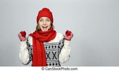 Winner, success concept. Happy overjoyed winter woman...