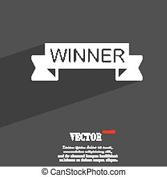 Winner symbol Flat modern web design with long shadow and space for your text. Vector