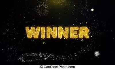 Winner Text on Gold Particles Fireworks Display.