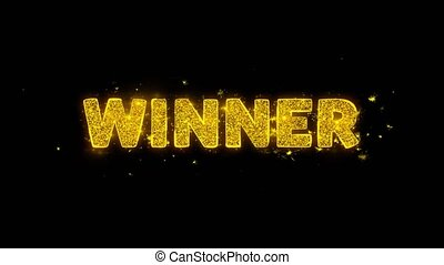 Winner Text Sparks Particles on Black Background.