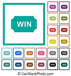 Winner ticket flat color icons with quadrant frames on white...
