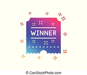 Winner ticket icon. Amusement park award sign. Vector