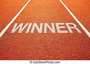 Winner track - Winner lane. Winner on athletics all weather...