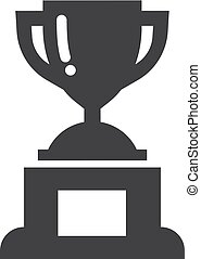 Winner trophy cup icon in black on a white background. Vector illustration