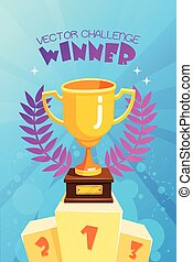 Winner Trophy On Podium Colorful Poster