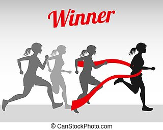 Winner vector concept with female running silhouettes