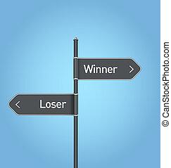 Winner vs loser choice road sign