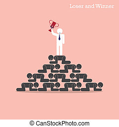 Winner walk over stairs of loser concept. Competition concept