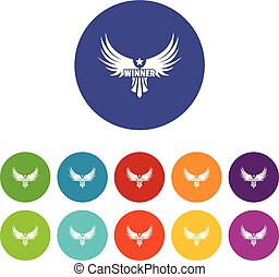 Winner wing icons set vector color