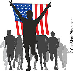 Winner with the American flag - silhouettes of athletes,...