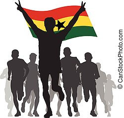 Winner with the Ghana flag