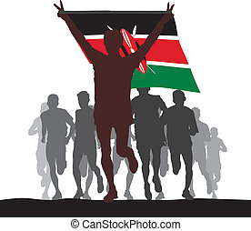 Winner with the Kenya flag - Illustration silhouettes of...