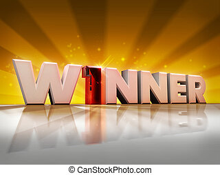 Winner - Word winner in 3d with a number one instead of the...