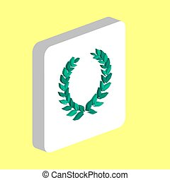 Winner Wreath Simple vector icon. Illustration symbol design template for web mobile UI element. Perfect color isometric pictogram on 3d white square. Winner Wreath icons for business project.