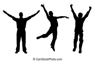 Silhouettes of winners and happy men. Isolated white background. EPS file available.