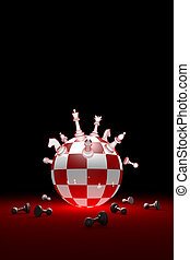 Winners and losers (chess metaphor). Vertical image. 3D render illustration. Free space for text.